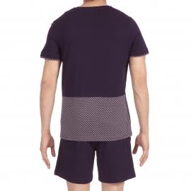 Pyjama court Diego Hom en jersey de coton mercerisé : tee-shirt col V bleu marine à motifs blancs et bermuda bleu marine
