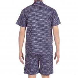 Pyjama court Gustavo Hom : veste boutonnée manches courtes et bermuda bleu marine à motifs carrés bleu ciel et blancs