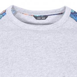 Pyjama court Hibis Hom en jersey de coton : tee-shirt col rond gris chiné, manches et bermuda bleu marine à imprimé fleurs multicolores