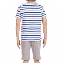 Pyjama court Salsa Hom en jersey de coton : tee-shirt col rond à rayures bleues, blanches et noires et bermuda gris chiné