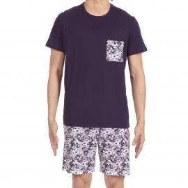 Pyjama court Tropicano Hom en jersey de coton : tee-shirt col rond bleu marine et bermuda blanc à imprimé tropical