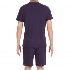Pyjama court Hom Yoga en jersey de coton : tee-shirt col V bleu marine, bermuda bleu marine à ceinture gris chiné