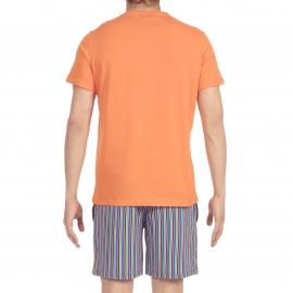 Pyjama court Yogis Hom en jersey de coton : tee-shirt col V orange et bermuda à rayures orange, bleues, jaunes et vertes