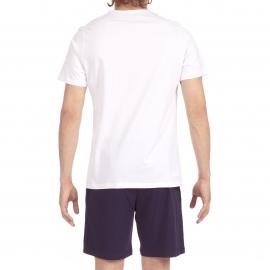 Pyjama court Hom Zen en jersey de coton : tee-shirt col V blanc et bermuda bleu marine