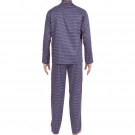 Pyjama long Gustavo Hom : veste boutonnée et pantalon bleu marine à motifs carrés bleu ciel et blancs