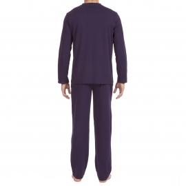 Pyjama long Hom Yoga en jersey de coton : tee-shirt manches longues col V bleu marine, pantalon bleu marine à ceinture gris chiné