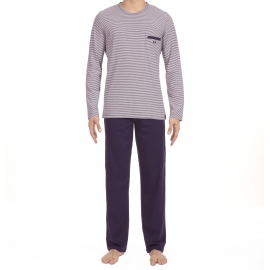 Pyjama long Hom Zen en jersey de coton : tee-shirt manches longues col V à rayures bleu marine et blanches, pantalon bleu marine