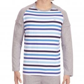 Pyjama long Salsa Hom en jersey de coton : tee-shirt manches longues à rayures bleu ciel, blanches et bleu indigo et pantalon gris chiné