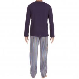 Pyjama long Yogis Hom en jersey de coton : tee-shirt manches longues col V bleu marine et pantalon à rayures orange, bleues, jaunes et vertes