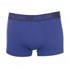 Lot de 2 boxers Hom en coton stretch bleu électrique uni et bleu électrique à rectangles bleu marine