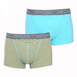 Lot de 2 boxers ouverts HO1 Hom en coton stretch  bleu turquoise uni et à rayures jaunes, orange, vertes et bleu turquoise