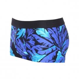 Shorty Palmeras Hom en microfibre noire à motifs feuillage bleu ciel et bleu indigo
