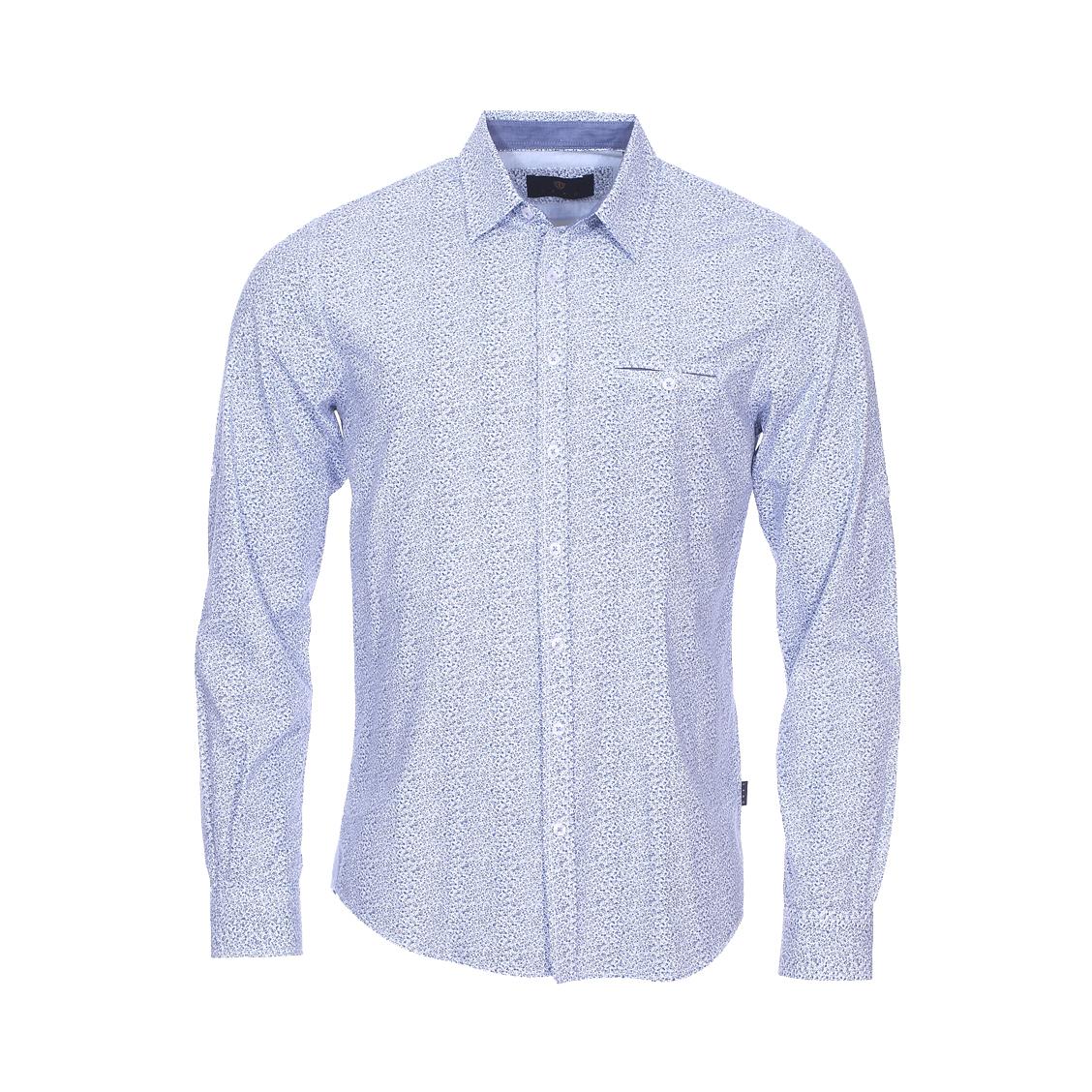 Chemise droite  en coton blanc à fleurs bleues