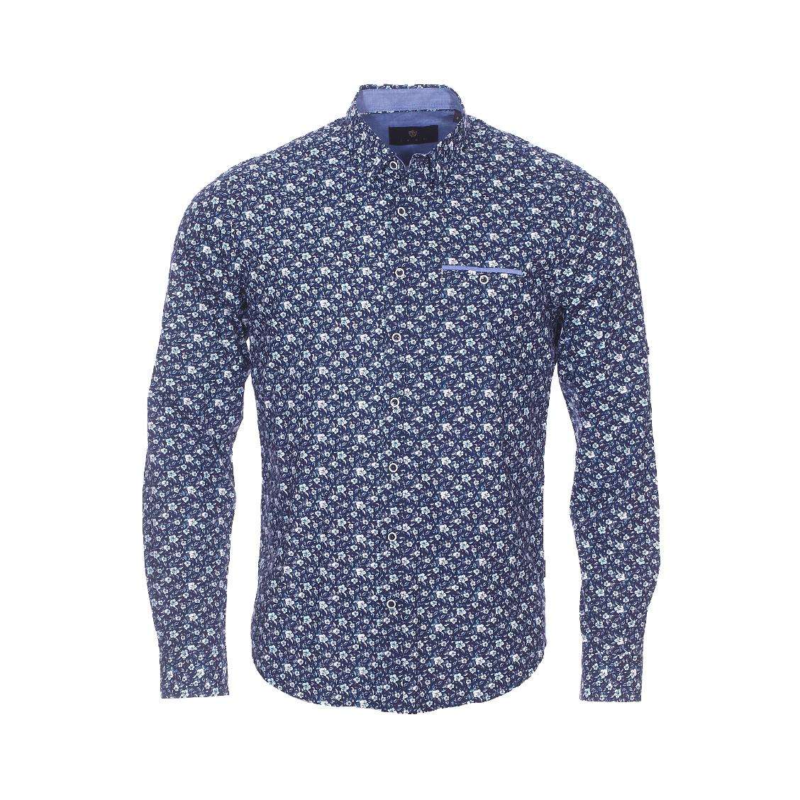 Chemise droite Izac en coton bleu marine à fleurs blanches et bleues