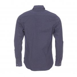 Chemise cintrée Izac en coton stretch bleu marine à pois blancs
