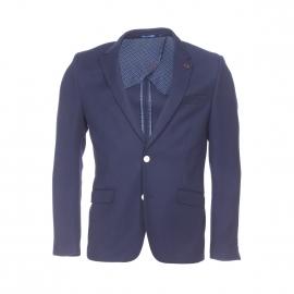 Veste de blazer Izac en coton bleu marine à coudières rouges