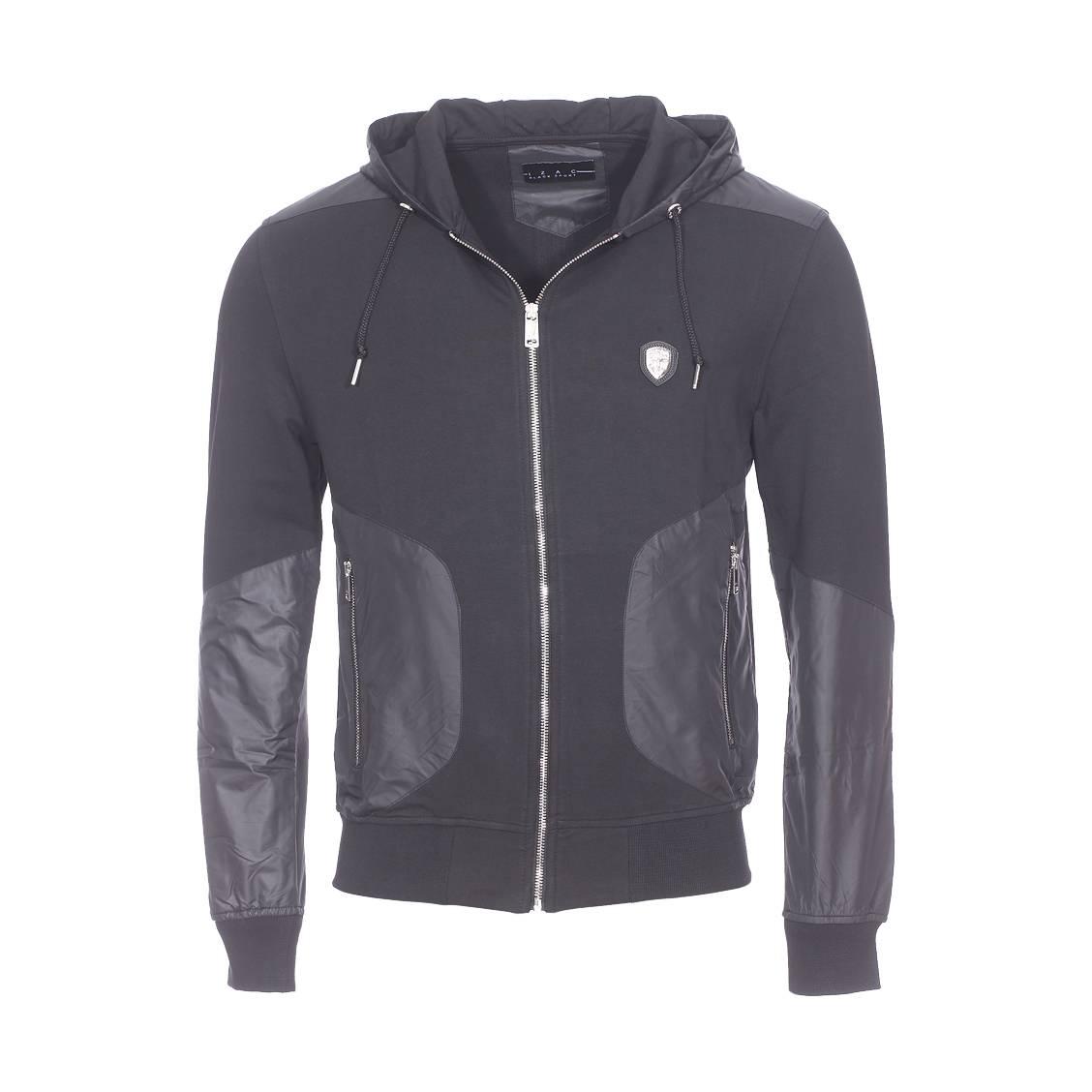 Sweat zippé à capuche Izac en coton stretch noir à empiècements satinés | Rue Des Hommes