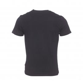 Tee-shirt col V Izac en coton noir à imprimé blanc
