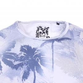 Tee-shirt col rond Izac en coton blanc à motifs palmiers