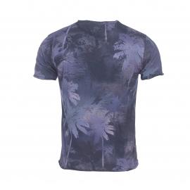 Tee-shirt col rond Izac en coton bleu marine à motifs palmiers