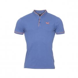 Polo col mao Kaporal en coton bleu azur à logo brodé orange