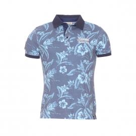 Polo Kaporal en coton bleu imprimé fleuri turquoise