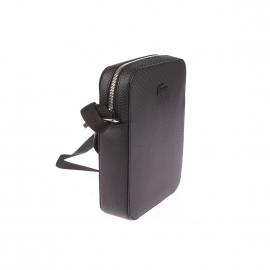 Sacoche Lacoste en refente de cuir noire texturée de motifs