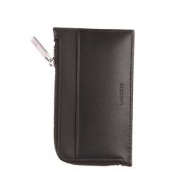 Porte-monnaie et cartes rectangulaire Lacoste en cuir lisse noir
