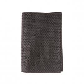 Porte-passeport Lacoste noir texturé de motifs