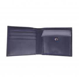 Portefeuille italien Lacoste bleu nuit texturé de motifs