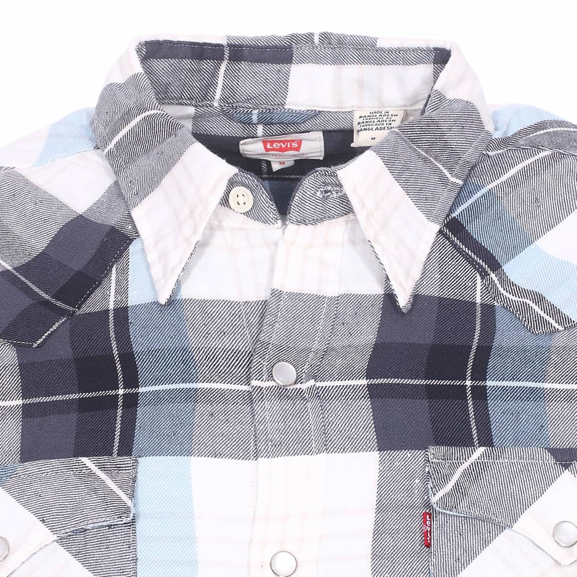 chemise barstow western levi 39 s en coton carreaux bleu ciel bleu marine gris et blancs rue. Black Bedroom Furniture Sets. Home Design Ideas