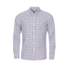 Chemise droite Levi's Sunset one pocket en coton supima crème à fins carreaux bleu marine, bleu jean et rouges