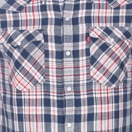 Chemise manches courtes Levi's Barstow Western en lin et coton à carreaux bleu marine, rouges et écrus