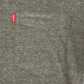 Tee-shirt col rond Levi's vert olive chiné à poche poitrine