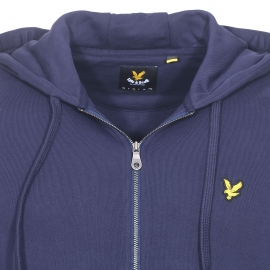 Sweat zippé à capuche Lyle & Scott en coton bleu marine