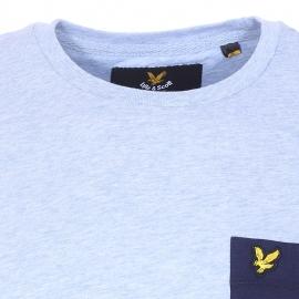 Tee-shirt col rond Lyle & Scott en coton bleu ciel à poche poitrine bleu marine