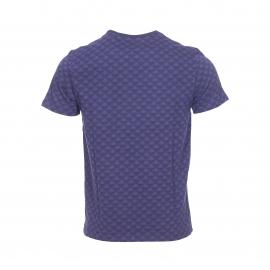 Tee-shirt col rond Lyle & Scott en coton bleu marine à motifs jacquard bleu indigo