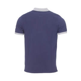 Polo Lyle & Scott en coton piqué bleu marine à col et manches gris chiné
