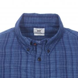 Chemise cintrée Lee en coton à carreaux bleu marine et bleu indigo