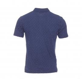 Polo Lee en coton bleu indigo à pois