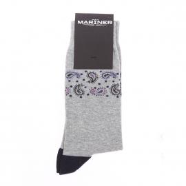 Chaussettes Mariner en coton mélangé gris chiné à imprimé cachemire