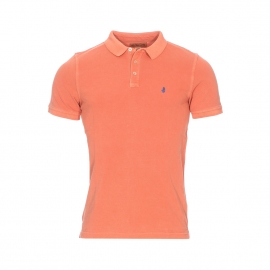 Polo MCS en coton maille piquée orange patiné