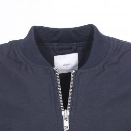 Blouson long zippé Minimum style bomber en coton bleu marine
