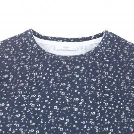 Tee-shirt col rond Minimum en coton bleu marine à petites fleurs blanches