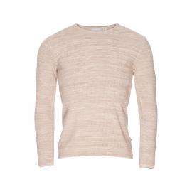 Pull col rond Minimum en mailles tricotées blanches et beiges mélangées