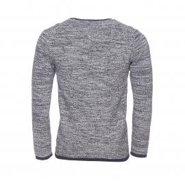 Pull col rond Minimum en mailles tricotées bleu marine et grises mélangées