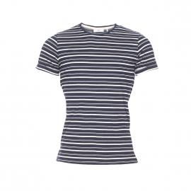 Tee-shirt col rond Minimum en coton bleu marine à rayures blanches