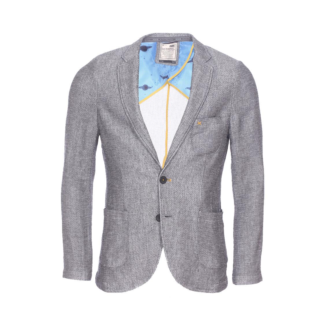 Veste de blazer cintrée No Excess gris chiné texturé