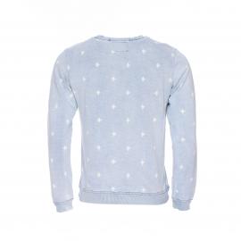 Sweat col rond No Excess en coton bleu ciel délavé à imprimés blancs