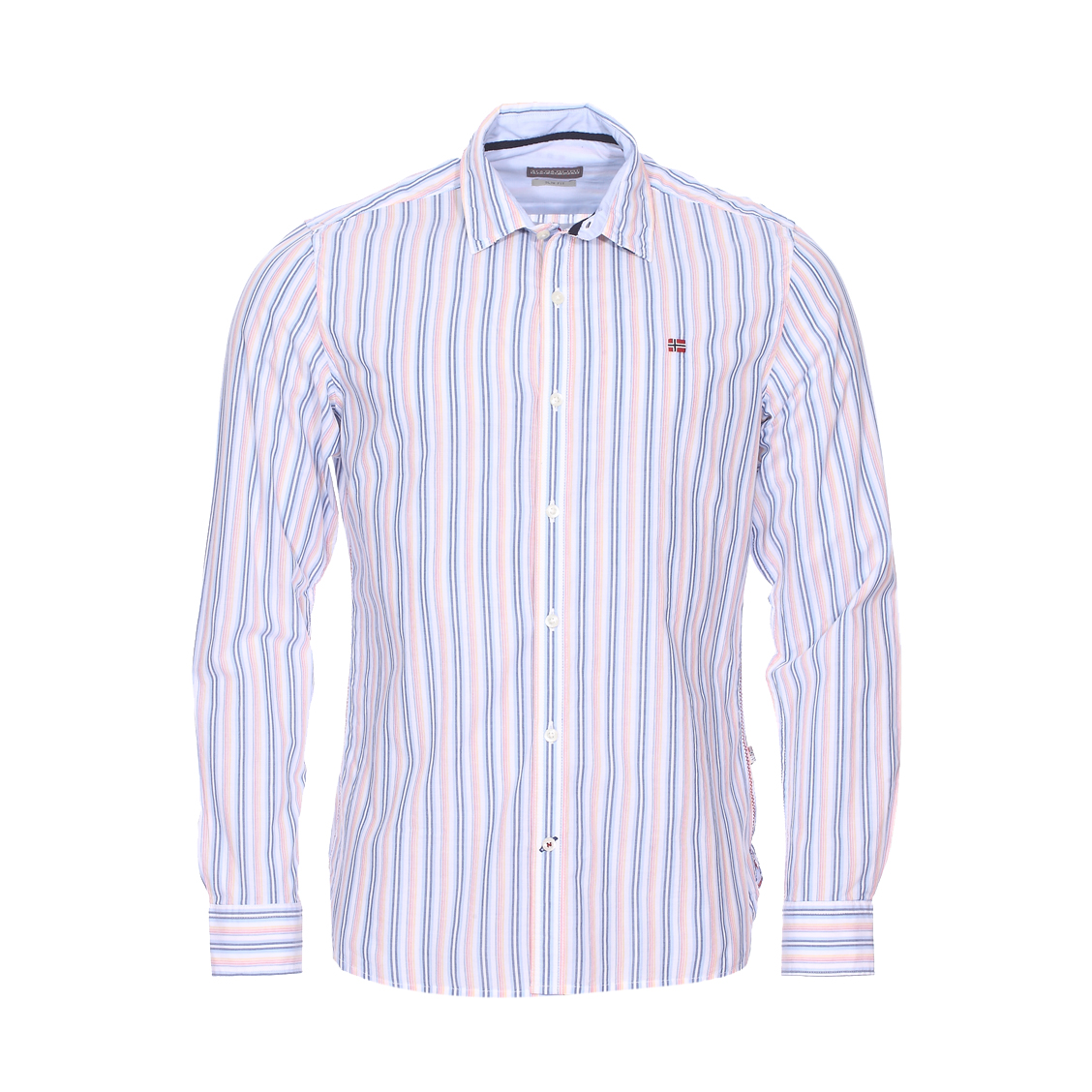 Chemise cintrée gulfport  en coton blanc à rayures bleues, orange, jaunes et rouges